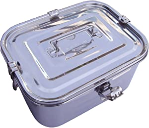 "Stainless Steel Rectangular Kimchi Food Storage Container (5L / 168oz / 10.6"")"