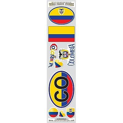 Car Chrome Decals STS-CO Colombia 9 Stickers Set Colombian Flag Decals Bumper stiker car auto Bike Laptop: Automotive