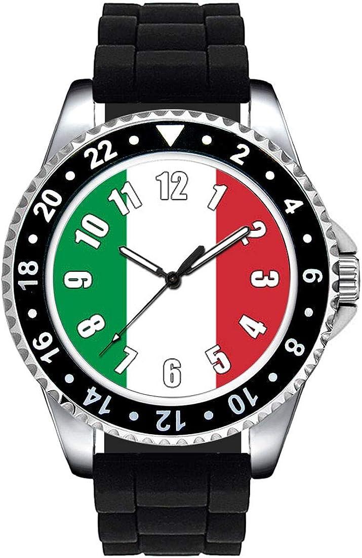 Timest - Bandera de Italia - Unisex Reloj con Correa de Silicona ...