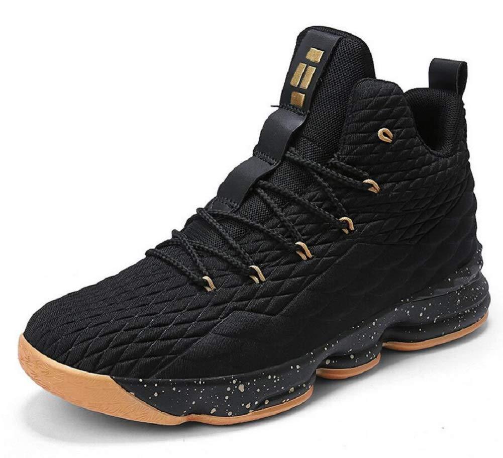 JIYE Women's Men's Fashion Basketball Shoes Wear Resistant Flyknit Sneakers,Black Gold,41EU=8.5US-Men/9.5US-Women