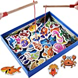 Zhisheng You Wooden 32-Piece Fishes Basic Educational Development Wooden Magnetic Bath Fishing Travel Table Game, Birthday Gift Toy for age 3 4 5 Year Old Kid Children Baby Toddler Boy Girl Magnet Toy