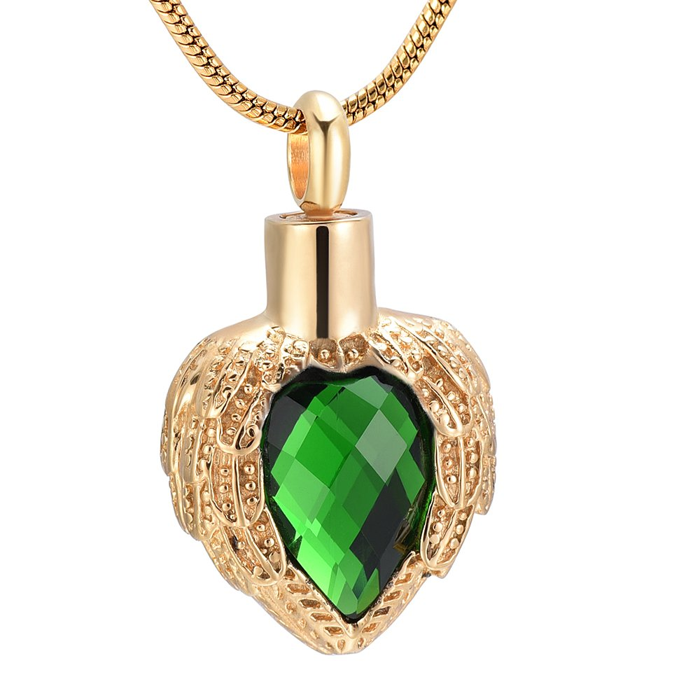 Memorial Jewelry Gold Angel Wings Glss Heart Urn Pet/Human Cremation Pendant Necklace Jewelry for Ashes