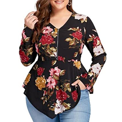 ... blusas mujer tallas grandes camisetas manga larga slim fit camisetas interior de manga larga con cuello en V blusa de moda elegante flor Chiffon Tops ...