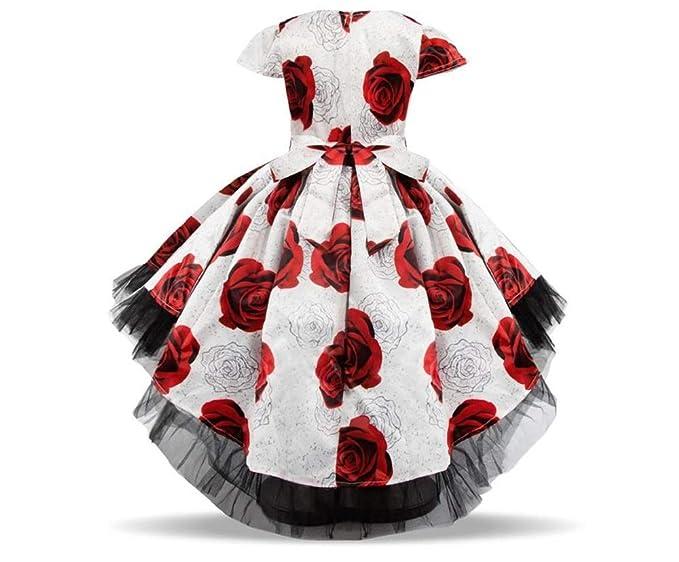 GIO144 Vestido Flor Roja Princesa Fiesta Cumpleaños Bautismo ...