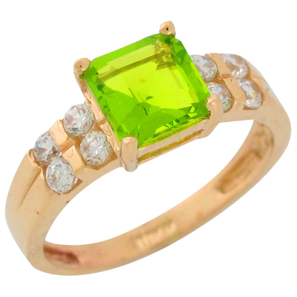 10k Yellow Gold Simulated Peridot Channel Set White CZ Ladies August Birth Ring by Jewelry Liquidation