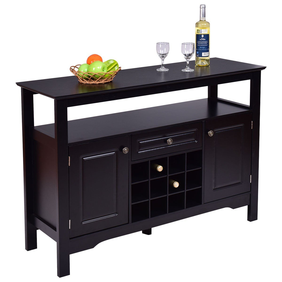 By Choice Products Elegant Classical Multifunctional Wooden Wine Cabinet Table by By Choice Products