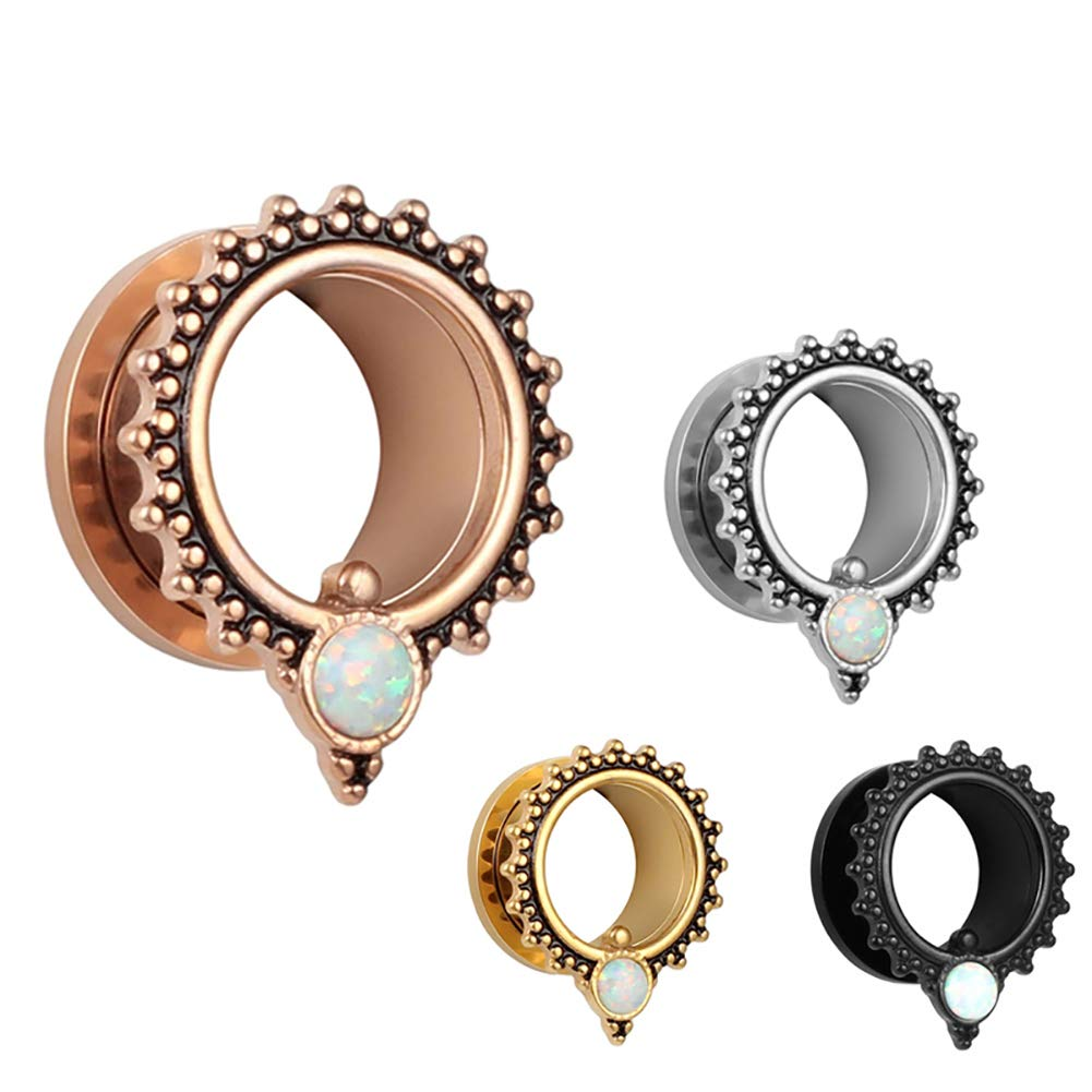 SUPTOP 2pcs Ears Gauges Rose Gold Plugs and Tunnels for Ear Size 2g 0g 00g to 5/8 Opal Stretchers for Women by SUPTOP