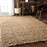 Cheap Handmade Eco Natural Fiber Chunky Loop Jute Beige Area Rugs, 7 Feet 6 Inches by 9 Feet 6 Inches (7′ 6″ x 9′ 6″)