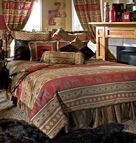 Rustic Western Southwestern Equestrian Decoration Comforter set with wildlife and native american prints - 5PC Adirondack King -
