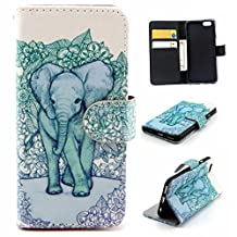 iPhone 6/6S Case, Jenny Shop Fashion Style PU Leather Flexible Stand Feather with Built-in Card Slots Cash Pocket Flip Cover Magnetic Closure Cover Case for Apple iphone 6/ iPhone 6S (Green Elephant)