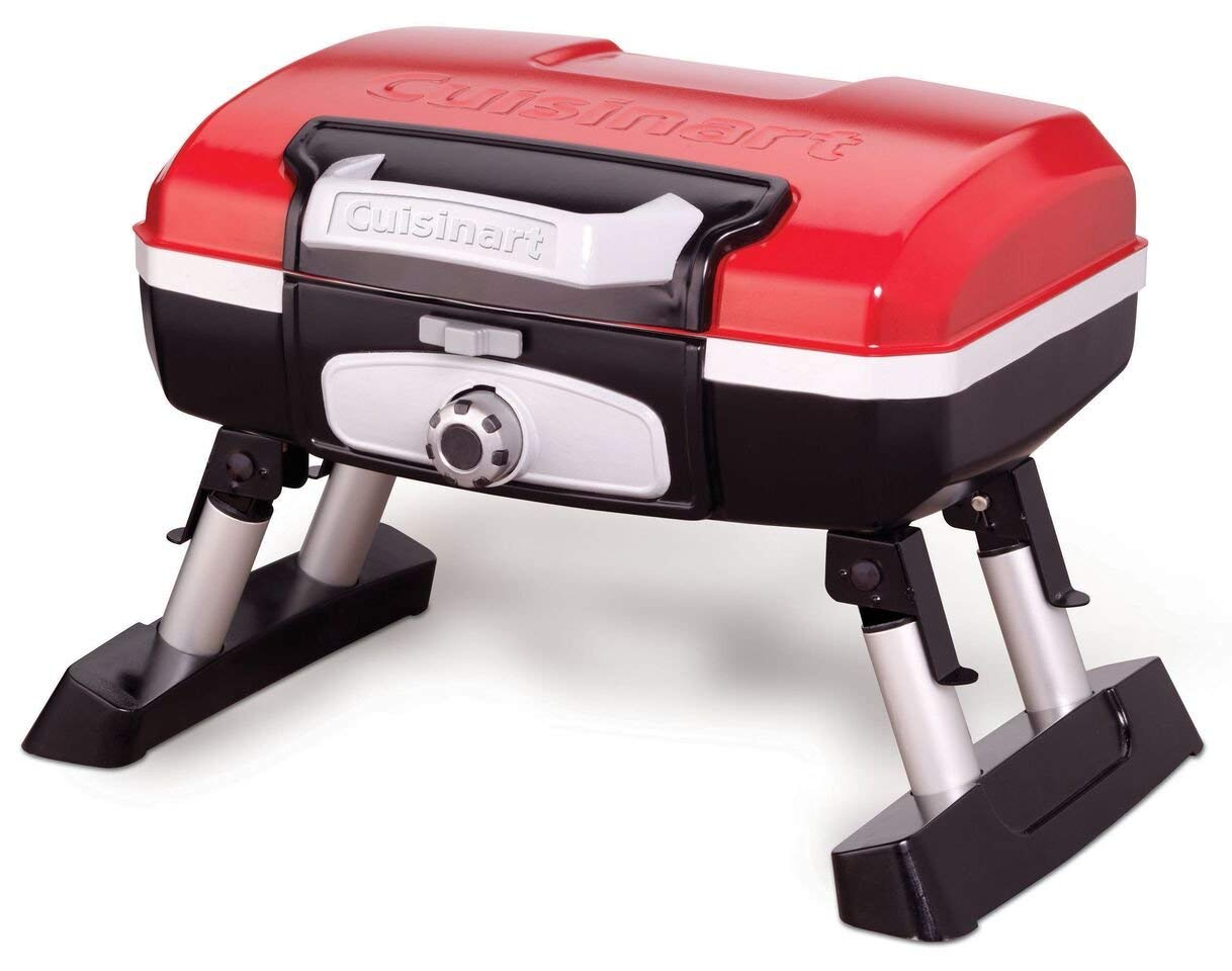 Cuisinart CGG-180T Petit Gourmet Portable Tabletop Gas Grill, Red (Renewed) by Cuisinart