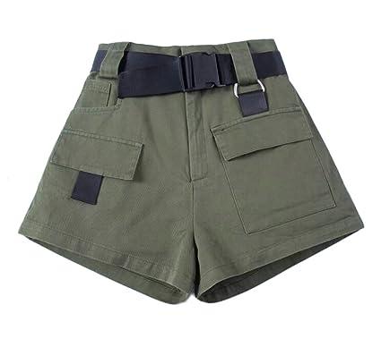 b1fc7f3f47 Sweatwater Women Multi Pocket High Waist Outdoors Wide Leg Workout Cargo  Shorts Army Green Small