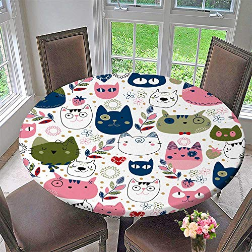 - PINAFORE HOME Picnic Circle Table Cloths Kitty cat Wallpaper for Family Dinners or Gatherings 63