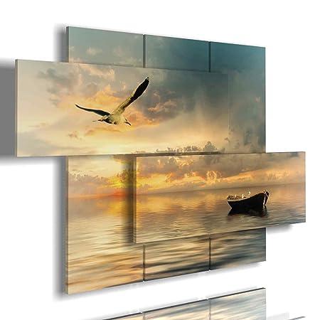 duudaart Quadri per casa Mare 03 3D Arredamento Ufficio Kit Poster Pannello  di Legno Camera Letto Cucina