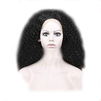 Pelucas de Africa Negro Brave Front Lace Kinky Curly Pequeño Curvatura de alta temperatura de seda