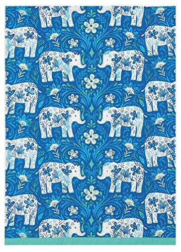 Peking Handicraft Sarah Watts Blue Teal Floral Elephant Delftware Print Designer Kitchen Dish Tea Towel Dishcloth