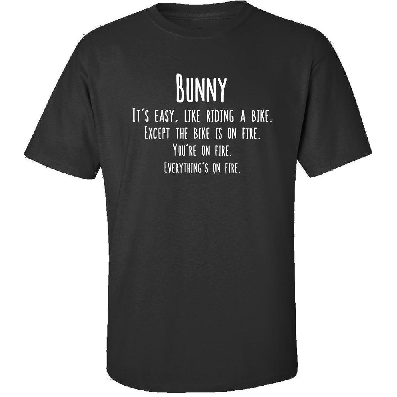 Bunny Is Easy Like Riding Bike On Fire Funny Job - Adult Shirt