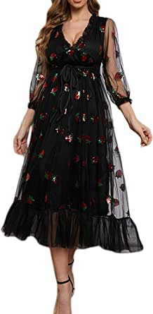 Women Strawberry Sequin Dress V-Neck Embroidered Sweet Mesh Lace Up Pleated Dress