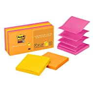 Post-it Super Sticky Pop-up Notes, 2x Sticking Power, 3 in x 3 in, Rio de Janeiro Collection, 10 Pads/Pack (R330-10SSAU)
