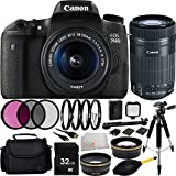 Canon EOS 760D/T6s DSLR Camera with EF-S 18-55mm f/3.5-5.6 IS STM Lens + 55-250mm f/4-5.6 IS STM Lens 32GB Bundle 15PC Accessory Kit. Includes 32GB Memory Card + 0.43X Wide Angle Lens + 2.2 Telephoto Lens + 3PC Filter Kit (UV-CPL-FLD) + MORE