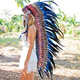 Novum Crafts Feather Headdress | Native American Indian Inspired | Dark Blue