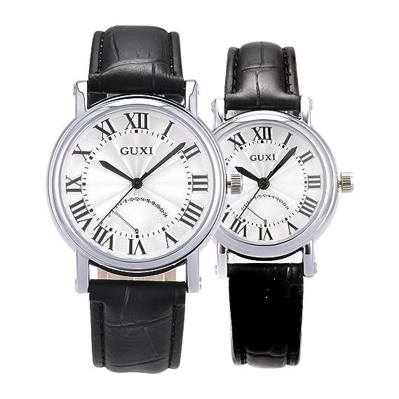 Reloj De Pulsera, Pareja Amante CueroSIBOSUN Números Romanos Clásicos Analógico: Amazon.es: Relojes