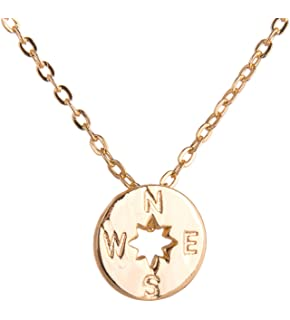 Cara Z Gold Dipped Compass Necklace - Golden Tone Pendant by Fine Jewellery For Women