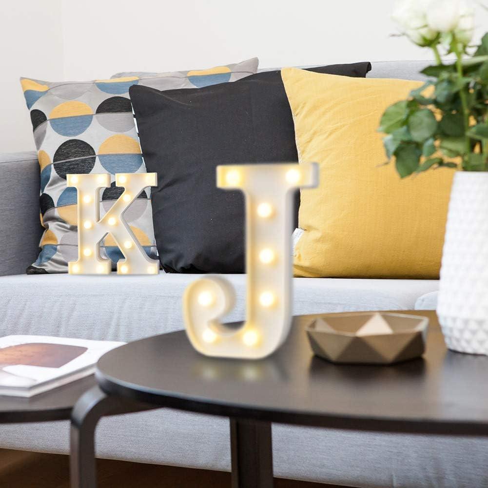 Color Blanco Letra F DON LETRA Letras Luminosas Decorativas con Luces LED Altura de 22cm Letras del Alfabeto A-Z