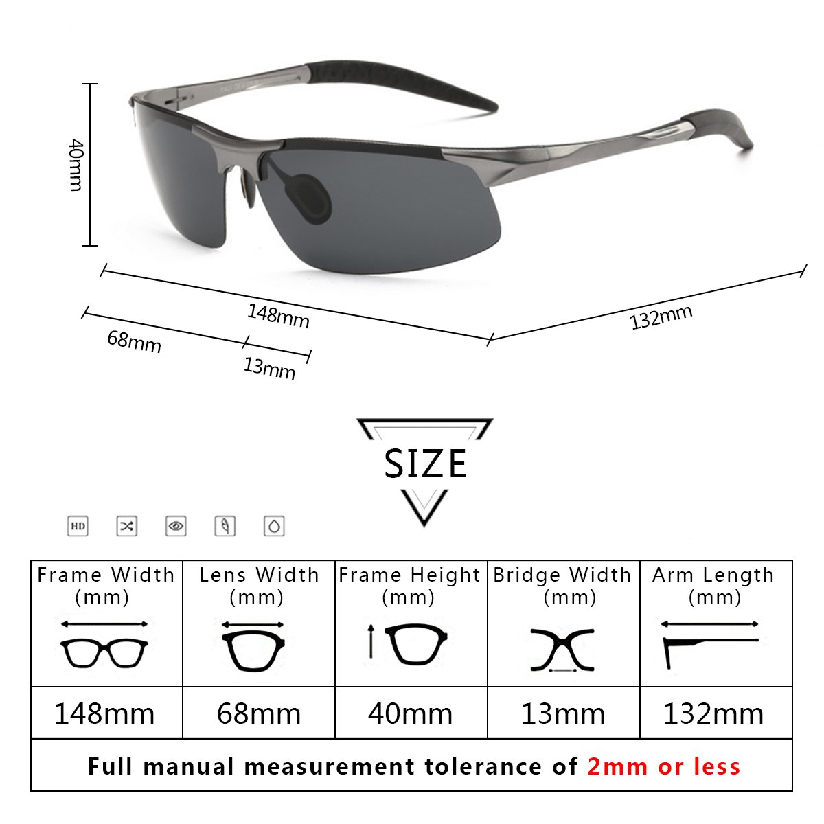 Sunglasses for Men WISH CLUB Men\'s Sports Style Polarized Sunglasses For Outdoor