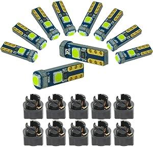 DODOFUN Ice Blue T5 37 74 LED Bulb with Twist Lock Socket PC74 PC37 Dashboard Instrument Panel Gauge Cluster Light Pack of 10