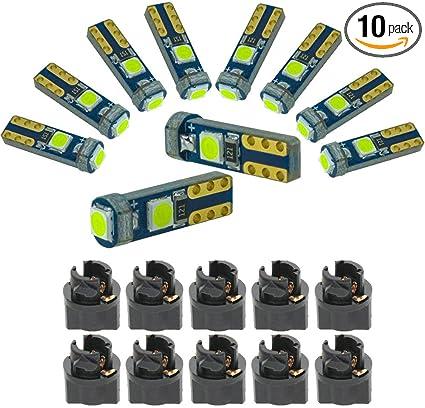 6x Twist Lock SMD 5050 LED 74 85 T5 Blue Instrument Cluster Indicator Led Bulbs