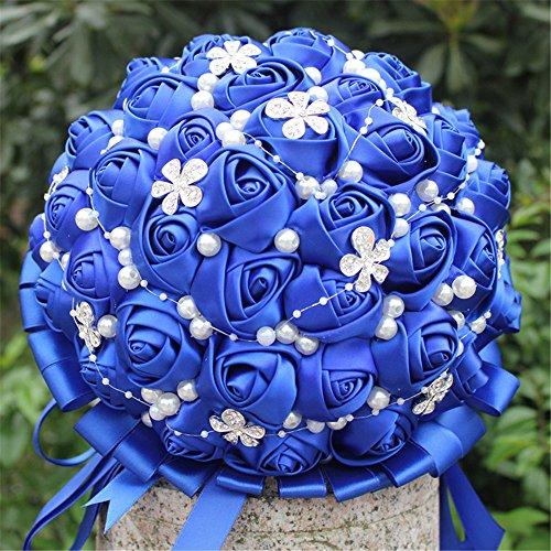 Hand Made Diamond Pearl Silk Roses Bridesmaid Bridal Artificial Bouquets Customization Bride Holding Bouquet Durable Wedding silk bouquet Flower 18cm (Royal (Rose Silk Ribbon)
