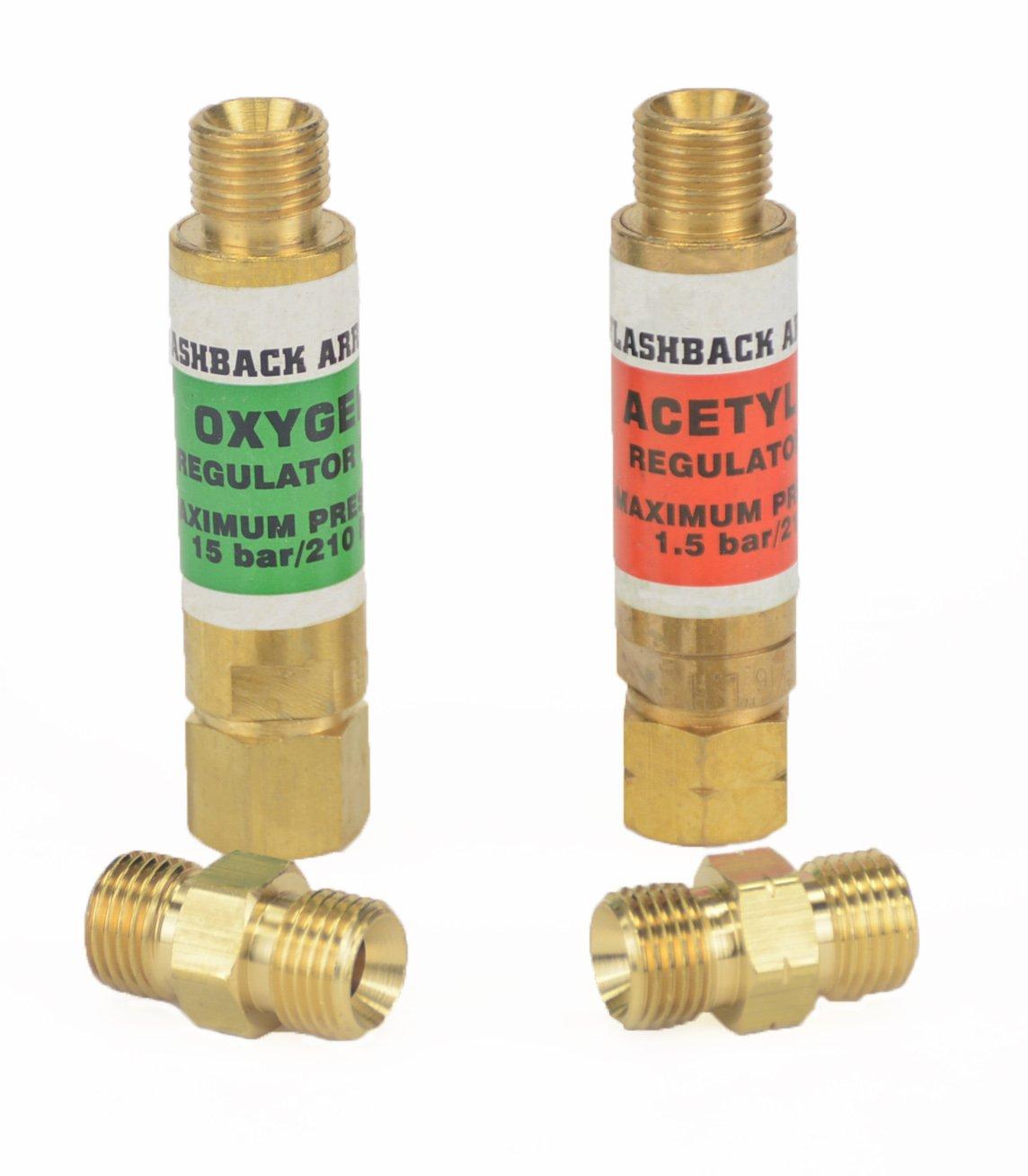 Hot Max 24010/24131 Regulator End Flashback Arrestor Set and Oxy-Acetylene Twin Hose Coupler/Union Bundle