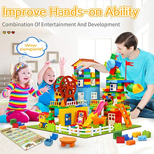 iHaHa 303 Pieces Kids Building Block Set, Classic STEM Building Toys with 4 Baseplate, Windmills and Swings Compatible with All Major Brands for Kids Boys Girls Toddlers Ages 3+