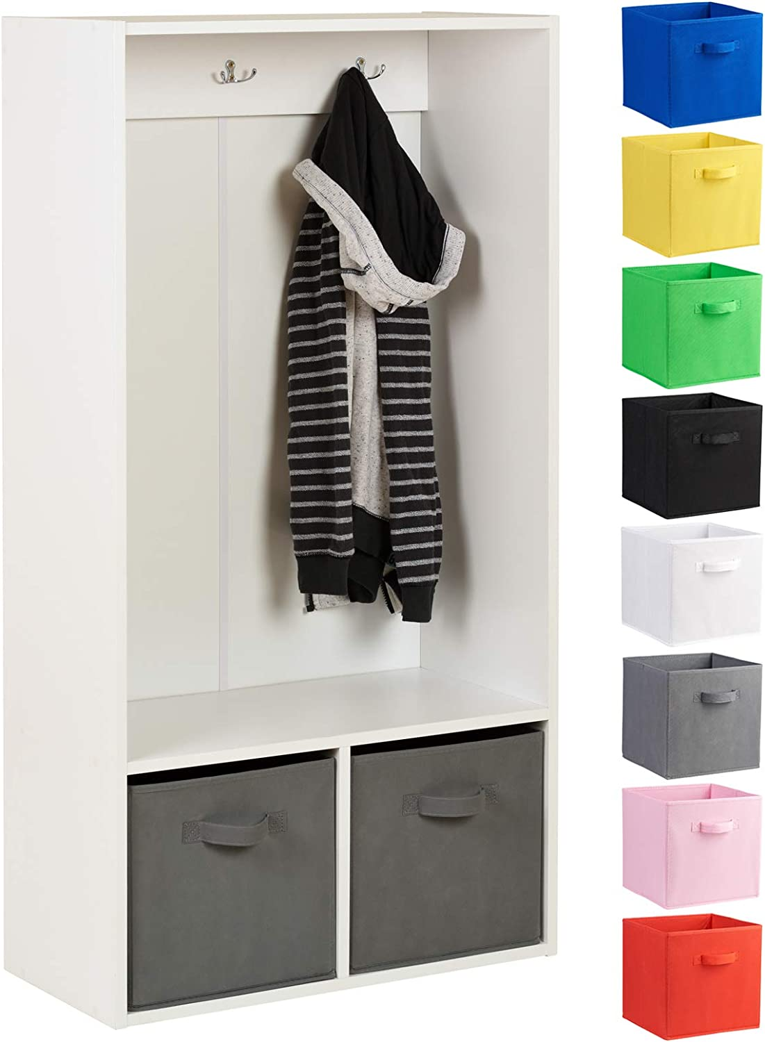 Choice of Colour Hartleys 2 Cube Kids Coat Stand /& 2 Handled Box Drawers