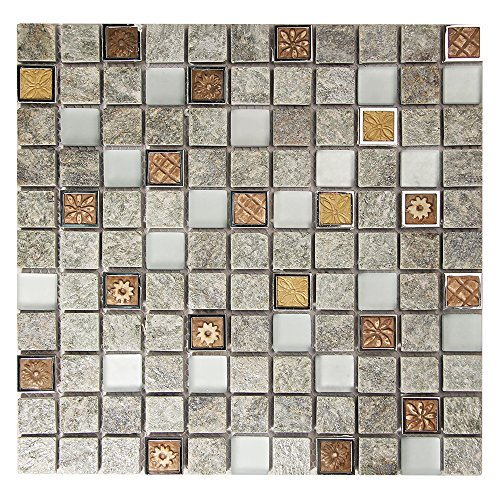 Talos Grey Glass, Metal, Stone Motif Mosaic Tile With Patterned 1x1 Squares - Kitchen Backsplash, Fireplace Surround Tile (4 x 6 Inch Sample) (Fireplace Tile Stone)