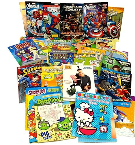BIG LOT 30 Coloring & Activity Books Marvel Batman Looney Toons Angry Birds & More