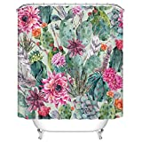 Ormis Cactus and Flower Mildew Resistant Polyester Fabric Shower Curtain Set With Hooks Bathroom Accessories 72''(w) x 72''(h)