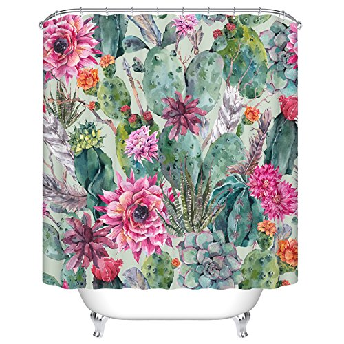 Ormis Cactus and Flower Mildew Resistant Polyester Fabric Shower Curtain Set With Hooks Bathroom Accessories 72''(w) x 72''(h) by Ormis