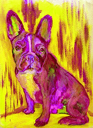 French Bulldog Art, Pink Yellow Frenchie Puppy Print, French