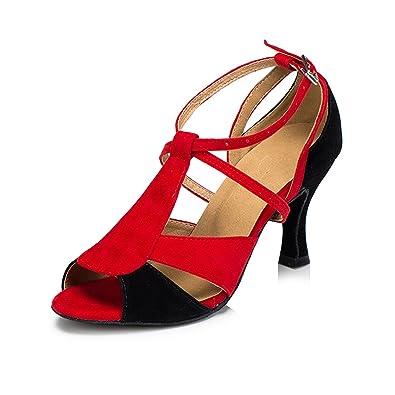 7394544b9e3b74 Miyoopark Ladies T-Strap Red Black Suede Latin Tango Ballroom Salsa Dance  Shoes Peep