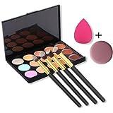 U-beauty(TM) 15 Colors Contour Face Cream Makeup Concealer Palette + 4pcs Powder Brushes With Free Makeup Sponge Blender