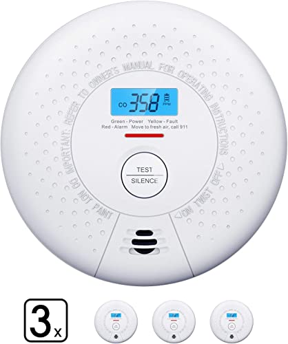 Carbon Monoxide Detector Alarm, X-Sense 10-Year Battery CO Alarm Detector with LCD Display, Compliant with UL 2034 Standard, Auto-Check Silence Button, CD01, 3-Pack