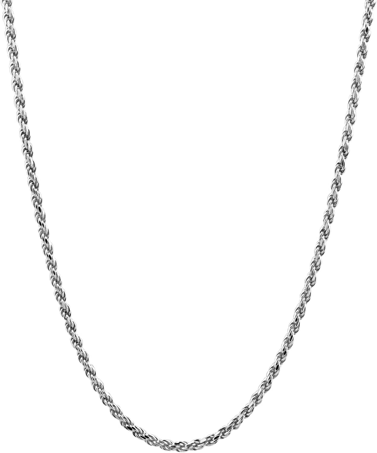 VARIOUS LENGTHS AVAILABLE 1.2mm STERLING SILVER UNISEX ROPE NECKLACE