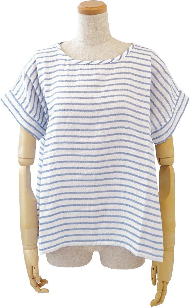 UCHINO レディスTシャツ マシュマロガーゼ ボーダーTシャツ 綿100% 素肌に心地良い (M) ブルー RTS95320 M B B07B4KR8LM Medium|ブルー ブルー Medium