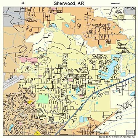 Amazon Com Large Street Road Map Of Sherwood Arkansas Ar