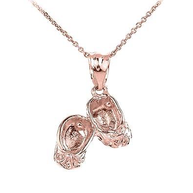 Amazoncom High Polish 14k Rose Gold Baby Girl Shoes Charm Pendant