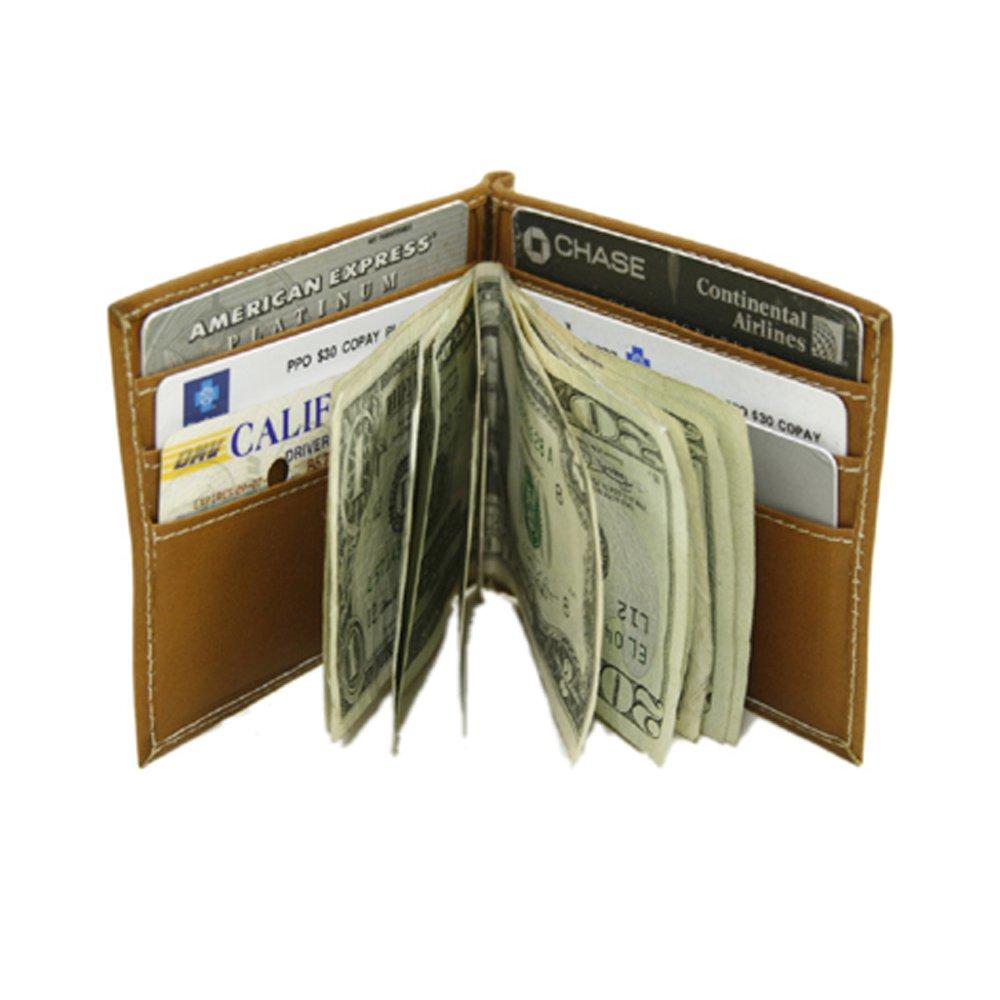 Piel Leather Bi-Fold Money Clip Wallet, Saddle, One Size 2858