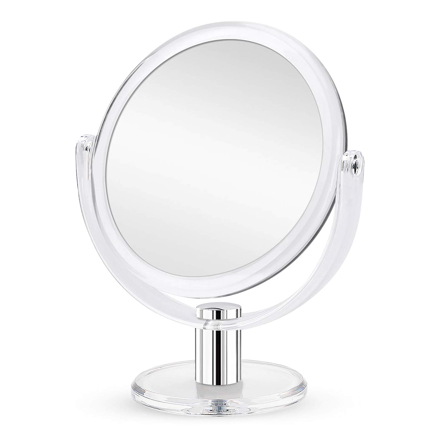 Double Sided Magnifying Makeup Mirror, 1X & 10X Magnification Mirror with Stand - 7 inch