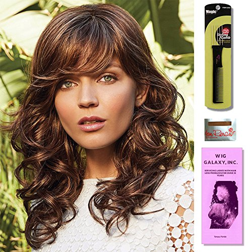 Brittany by Amore Wigs, Wig Cap Liner, Wig Comb and Wig Galaxy Booklet. (4- Item Bundle) (CAPPUCINO) ()